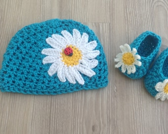 Baby Crocheted Hat, Newborn Crocheted Hat, Baby Daisy Hat, Newborn Daisy Hat with booties, Baby Girl Hat,