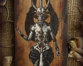 Decorative panno pyrography woodburning Baphomet  satanism  black metal  pentagram