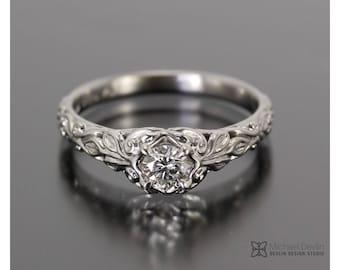 vintage style wedding ring set