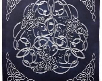 Celtic Raven Tarot or Altar Cloth Black and Silver -  Pagan Wiccan - Brigid Ashwood