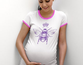 Queen Bee  hand printed maternity shirt 100% cotton