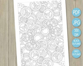 Colouring printable cogs printable watch parts steam punk design adult colouring page adult coloring book art therapy design colour therapy