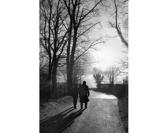 Black and White Photography - Men Walking Fine Art Photograph - 8x12
