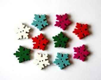 Wooden Buttons Christmas Snowflake - 10 pcs