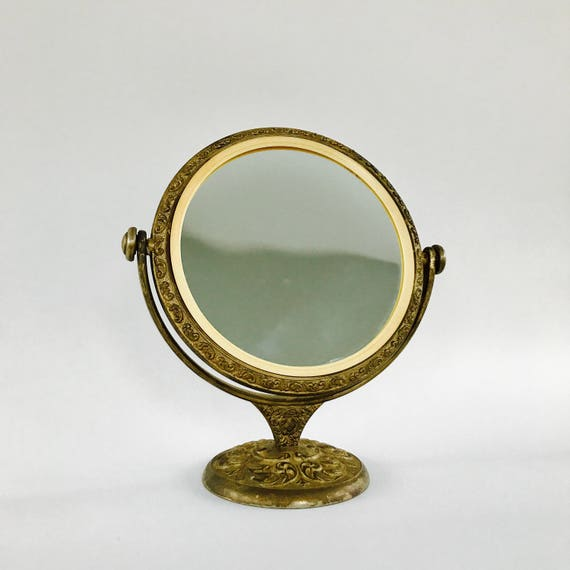 - Antique Vanity Mirror With Stand. Brass Makeup Mirror.