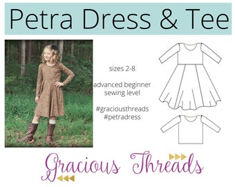 Petra Dress and Tee PDF sewing pattern 2T-8