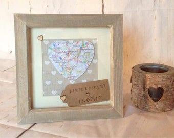 Wedding gift map frame, Valentine's Day gift, wedding gift, wedding map frame, personalised wedding gift, personalised map frame, mr & mrs
