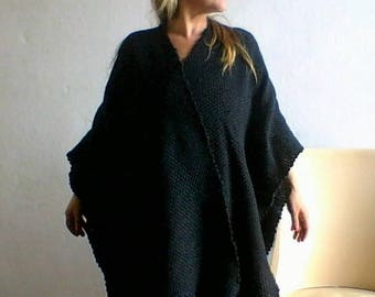 Wool Poncho cape - Cape coat - Handmade kimono jacket - Handwoven wool shawl wrap - Special Mother's day