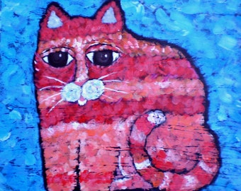 Fantasy Cat, Red, Pink, Feline, Original Art, Acrylic paint, Woodland, Whimsical Art, Folk Art,