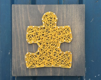 READY TO SHIP String Art Small Puzzle Piece Sign