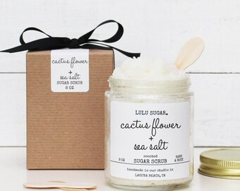 Cactus Flower + Sea Salt Sugar Scrub - 8 oz - Natural Sugar Scrub Gift | Bridal Party Gift | Bridesmaid Gift | Maid of Honor Gift