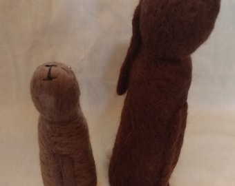 Pair of cute needle felted star gazing hares