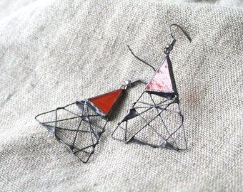 Statement Earrings, Triangular Red Earrings, Geometric Jewelry, Glass Metal, Unique handcrafted