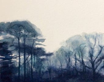 Tree watercolor, tree painting, woodland, Misty trees, watercolor trees, forest, Misty forest, foggy trees, Misty landscape, English forest