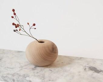 Salvaged Wood Vase   Sycamore Round Bud Vase