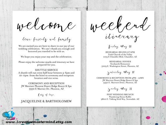 wedding welcome note template