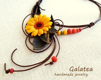 Statement leather necklace Yellow Flower jewelry Statement Floral necklace Gerbera jewelry romantic gift