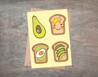 Avocado Greetings Card & Envelope - Avocado Toast Green Yellow Birthday Valentines Anniversary Food card - Retro Style Egg Birthday Card