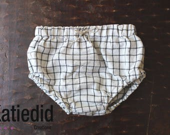 Grey and black striped bloomers with faux tie waistband