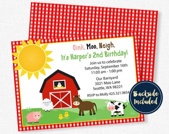 Farm Birthday Invitation, Barnyard Birthday Invitation, Farm Animals Invitation, Farm Birthday Party