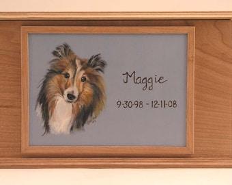 Pet Urn Memorial Box (double sized),oak pet urn,cherry pet urn,hand painted portrait on pet urn,