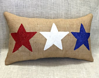 July 4th Pillow, Patriotic Pillow, July 4 Stars Pillow, Home Decor, 4th July Pillow, Burlap Pillows, Red White Blue Pillow, Summer Decor