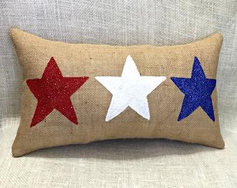 July 4th Pillow, Patriotic Pillow, Stars Pillow, 4th July Pillow, Burlap Pillows, Red White Blue Pillow, Summer Decor
