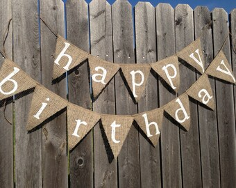 HAPPY BIRTHDAY BANNER Birthday Decorations Rustic Banner Party Decor Custom