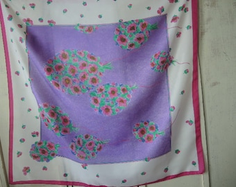 vintage 1980s  polyester scarf pink and purple floral flowers made in Italy slightly sheer washable 30 x 31 inches