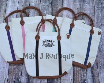 Monogrammed 5 colors Canvas Tote - Personalized canvas flight bag - College gift