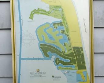 Sales Plat Map of The Moorings Vero Beach Florida ~ Framed