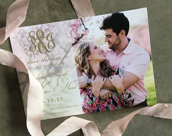 Classic Monogram Save the Date Cards