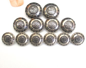 12 Vintage Silver Tone Metal Arrow & Crown Domed Button Set - Replacement Buttons for Jackets, Suits or Blazer Coats - King Queen Button Lot