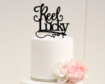 Reel Lucky Fishing Wedding Cake Topper - Custom Cake Topper - 0010