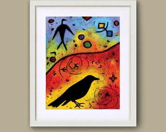 "Raven Print - Crow Art titled Raven Lights The Sky - 8"" x 10"""
