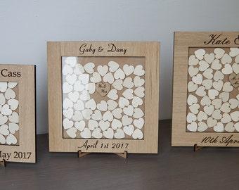 Personalised Rustic Wedding Dropbox,Wooden Guest Book, Hearts, Oak