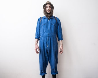 French Work Jumpsuit Overall 60s WorkWear Workers Coverall JumpSuit Spring Overall Blue Aged WorkWear Bleu De Travail