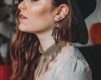 Leather Lace Earrings