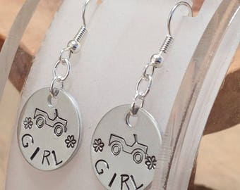 Jeep Girl hand stamped and polished aluminum earrings with surgical steel french hook earwires super cute and affordable too!