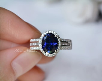 Luxrious Lab Sapphire Ring Sapphire Engagement Ring/ Wedding Ring 925 Sterling Silver Anniversary Ring Promise Ring
