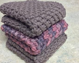Cotton Dishcloth, Washcloth - Set of 3