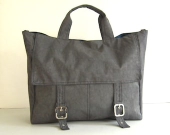 Sale - Water-Resistant Nylon in Grey - Messenger, Handbag, Diaper, School, Office, Laptop, Tote, Gym - Heather