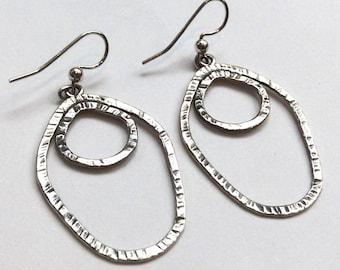 Long Dangle Earrings, Sterling Silver Earrings, Hammered Earrings, Bohemian Earrings, Casual Earrings, Everday Earrings, Mordern Earrings