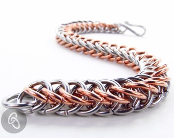 Copper & Stainless Steel - Chainmaille Bracelet - Thick Persian