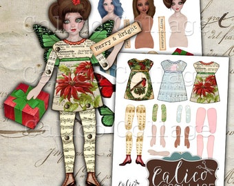 Printable, Paper Dolls, Digital, Collage Sheet, Christmas, Holiday, Whimsy Paper Dolls, Christmas Ephemera, Simply Winter, Altered Art Dolls