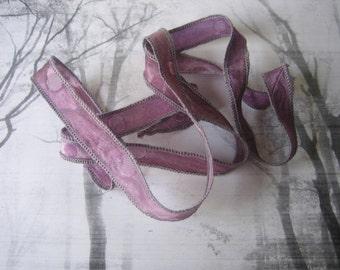 Hand Dyed Painted Habotai Silk Wrap Bracelet - Wine - Fairy Ribbon - DIY wrap bracelet - Silk Bracelet - Ribbon Bracelet -Silk Ribbon Wrap