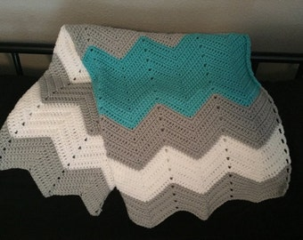 Turquoise, Grey & White Baby Afghan