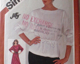 SALE - Misses/Misses Petite Jiffy Pullover Dress or Top - 80's Sewing Pattern -  Simplicity 5794, Size Small (10-12), Bust 32 1/2 - 34