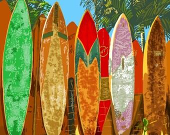 Rincon, Puerto Rico - Surfboard Fence - Lantern Press Artwork (Art Print - Multiple Sizes Available)