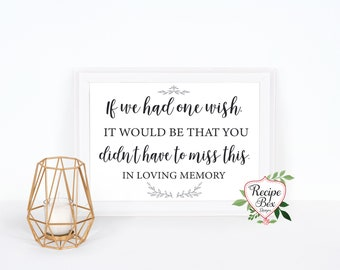 Heaven Wedding Sign, Wedding Memorial Sign, Memorial Table, One Wish, In Loving Memory Sign, Remembrance Sign 5x7 - 8x10 NO Frame NEW